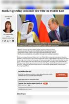 Russia's Growing Economic Ties with the Middle East
