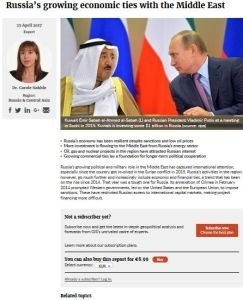 Russia's Growing Economic Ties with the Middle East summary