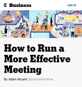 How to Run a More Effective Meeting summary
