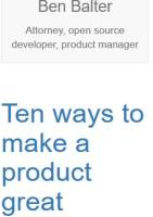 Ten Ways to Make a Product Great