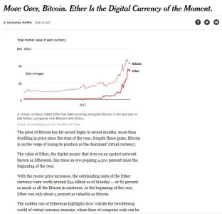 Move Over, Bitcoin. Ether Is the Digital Currency of the Moment.