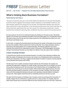 What's Holding Back Business Formation? summary