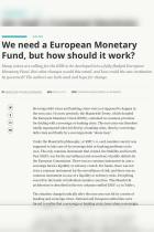 We need a European Monetary Fund, but how should it work?