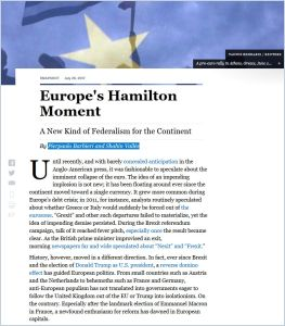 Europe's Hamilton Moment summary