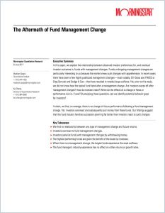 The Aftermath of Fund Management Change
