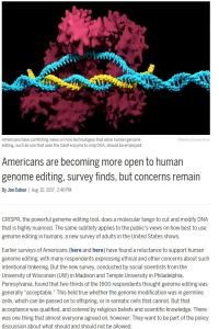 Americans are Becoming More Open to Human Genome Editing, Survey Finds, but Concerns Remain summary