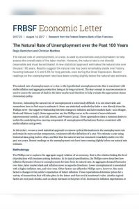 The Natural Rate of Unemployment over the Past 100 Years summary