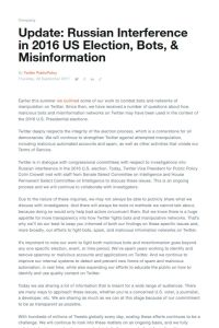 Update: Russian Interference in 2016 US Election, Bots, & Misinformation summary
