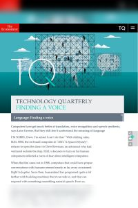 Technology Quarterly: Finding a Voice summary