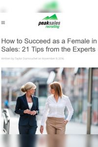 How to Succeed as a Female in Sales summary