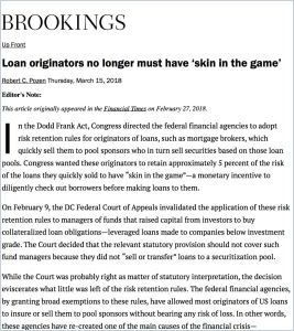 Loan originators no longer must have 'skin in the game'