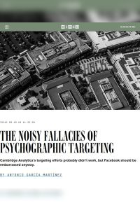 The Noisy Fallacies of Psychographic Targeting summary