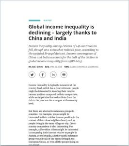 Global income inequality is declining – largely thanks to China and India