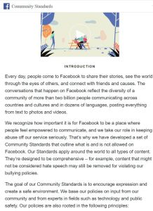 Facebook's Internal Community Standards