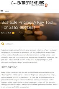 Scalable Pricing summary