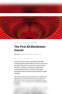 The First All-Blockchain Insurer summary