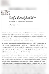 What Would Happen If China Started Selling Off Its Treasury Portfolio? summary