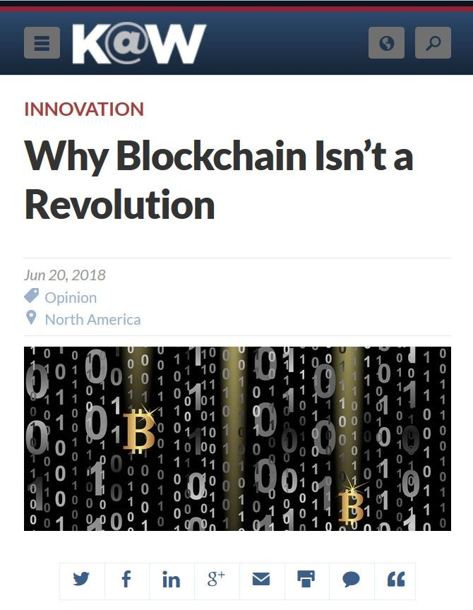 Image of: Why Blockchain Isn't a Revolution