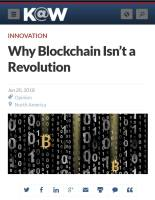 Why Blockchain Isn't a Revolution