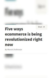 Five Ways Ecommerce Is Being Revolutionized Right Now summary