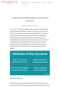 Categorizing and Selecting Key Accounts and Customers summary