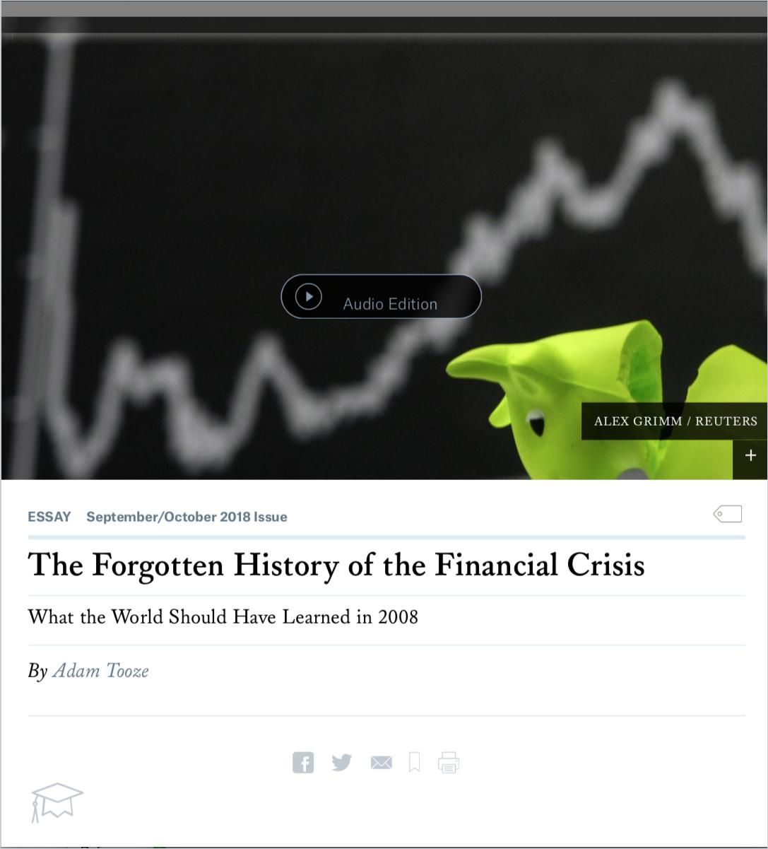 Image of: The Forgotten History of the Financial Crisis