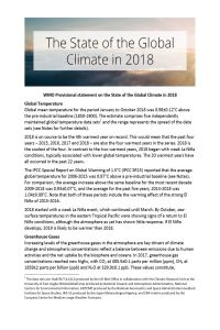 The State of the Global Climate in 2018 summary