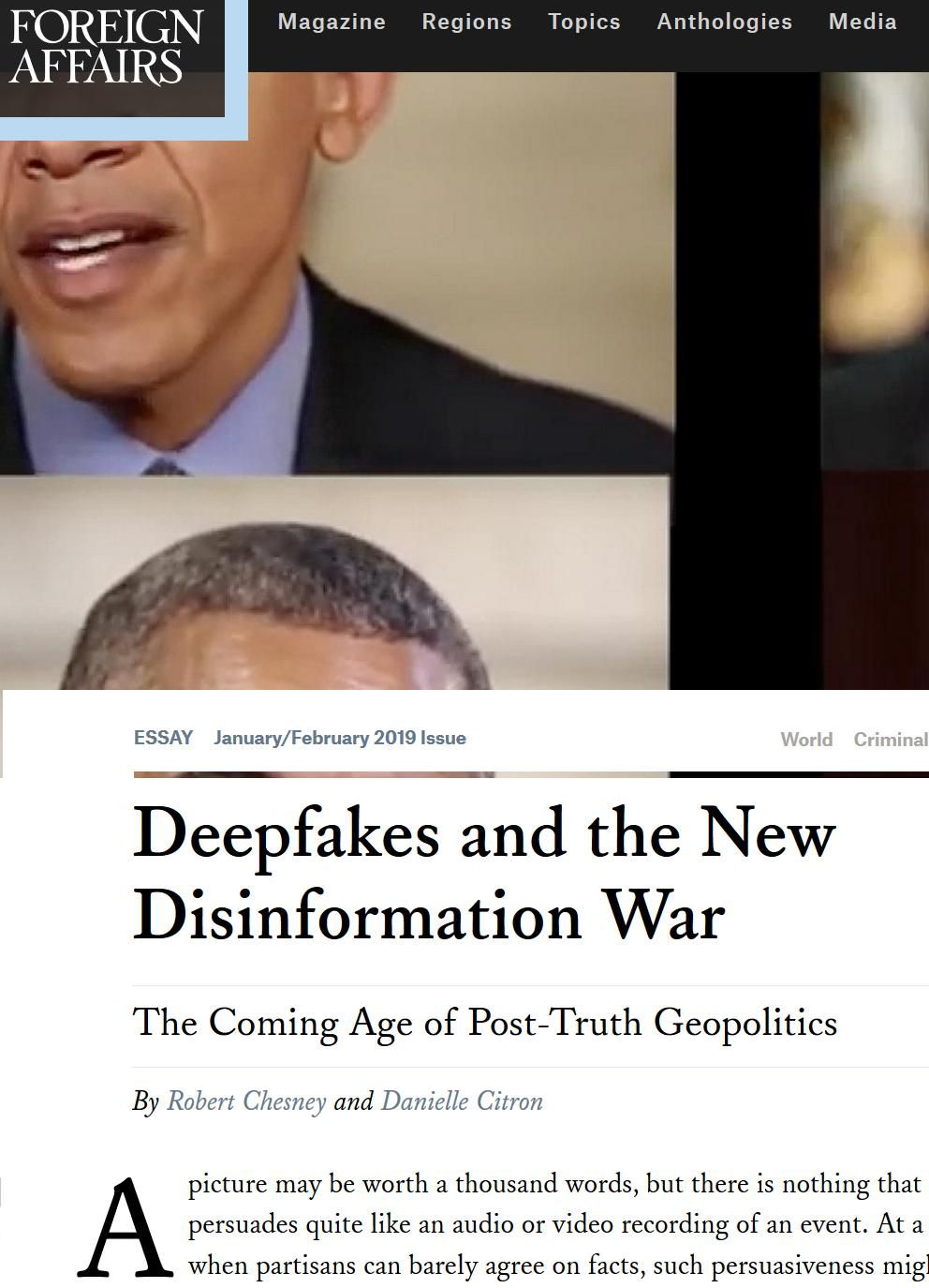 Image of: Deepfakes and the New Disinformation War