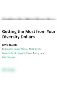 Getting the Most from Your Diversity Dollars summary