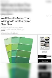 Wall Street Is More Than Willing to Fund the Green New Deal summary