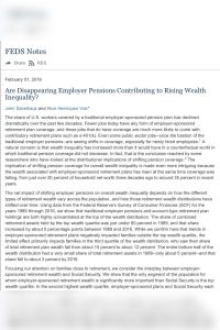 Are Disappearing Employer Pensions Contributing to Rising Wealth Inequality? summary
