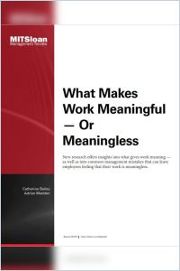What Makes Work Meaningful – or Meaningless summary