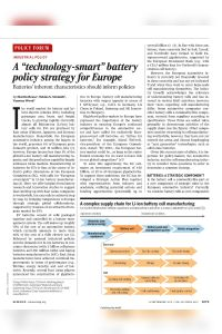 "A ""Technology-Smart"" Battery Policy Strategy for Europe summary"