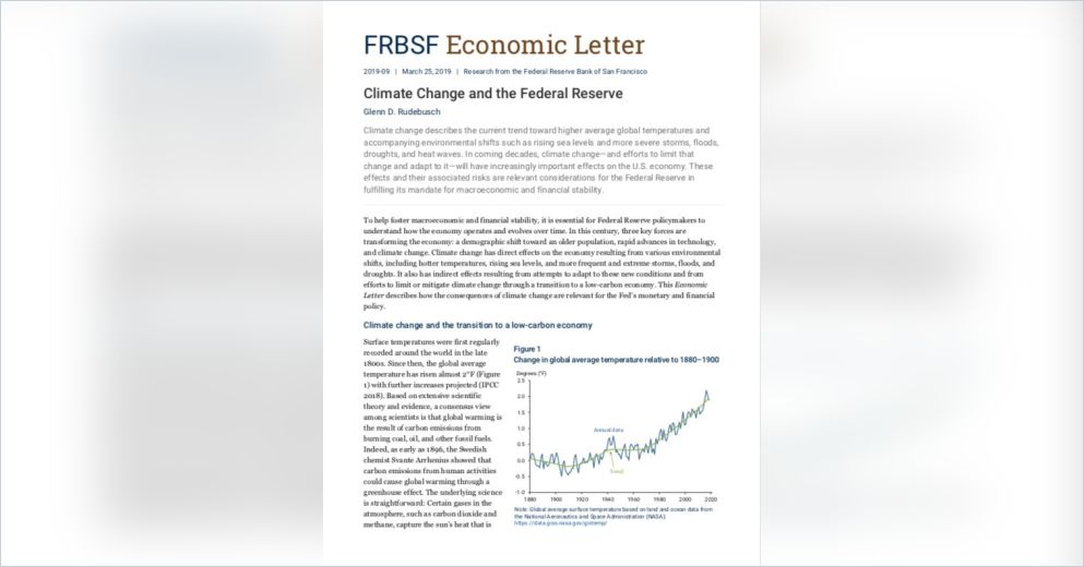 Climate Change and the Federal Reserve Free Summary by Glenn