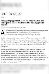 Spotlighting Opportunities for Business in Africa and Strategies to Succeed in the World's Next Big Growth Market summary