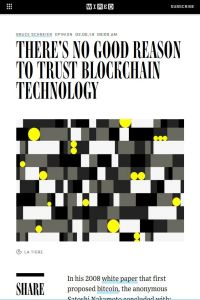 There's No Good Reason to Trust Blockchain Technology summary