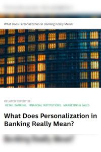 What Does Personalization in Banking Really Mean? summary