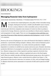 Managing Financial Risks from Hydropower summary