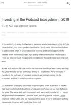 Investing in the Podcast Ecosystem in 2019