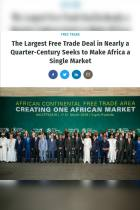The Largest Free Trade Deal in Nearly a Quarter-Century Seeks to Make Africa a Single Market