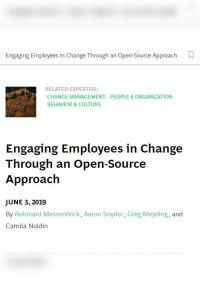 Engaging Employees in Change Through an Open-Source Approach summary