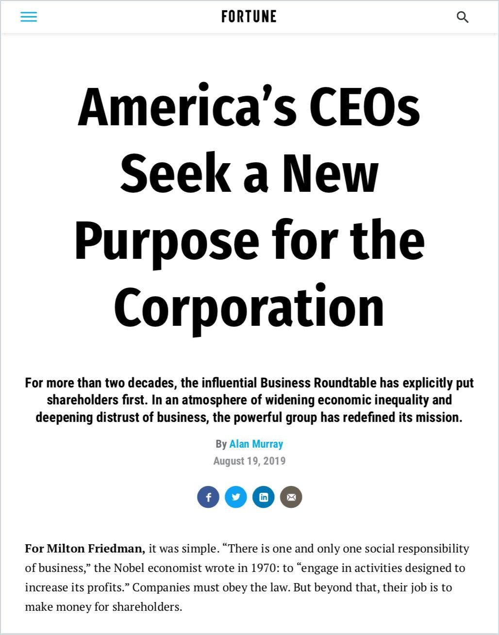 Image of: America's CEOs Seek a New Purpose for the Corporation