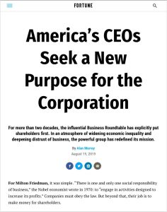 America S Ceos Seek A New Purpose For