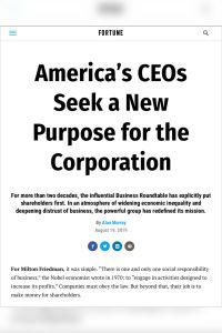 America's CEOs Seek a New Purpose for the Corporation summary
