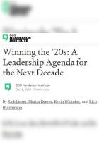 A Leadership Agenda for the Next Decade