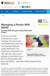 Managing a Person with ADHD summary