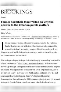 Former Fed Chair Janet Yellen on why the answer to the inflation puzzle matters summary