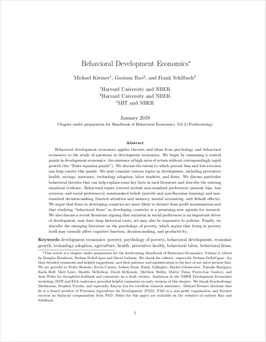 Image of: Behavioral Development Economics