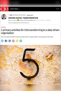 5 Primary Activities for CIOs Transforming to a Data-Driven Organization summary