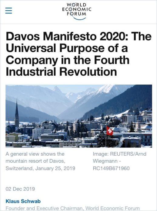 Image of: Davos Manifesto 2020